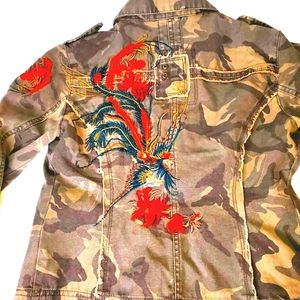 Picasso Embroidered Bead Camo Military Jacket S